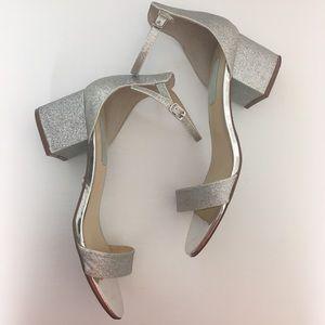 Betsey Johnson silver glitter sandals, block heel